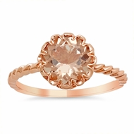 Floral Morganite Solitaire Engagement Ring