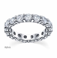 Forever One Moissanite 4mm Round Eternity Ring