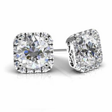 Forever One Round Moissanite Cushion Halo Earrings - click to enlarge