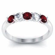 Garnet and Diamond 5 Stone Ring