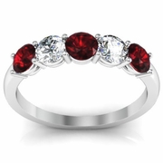 Garnet and Diamond Gem Stone Band