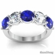 Diamond and Blue Sapphire 5 Stone Band