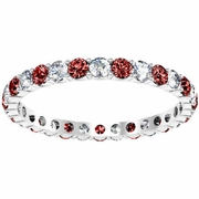 Gemstone Eternity Band with Garnets and Diamonds