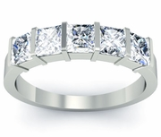 GIA Certified Diamond Anniversary 5-Stone Ring with Princess Cut Diamonds
