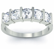 GIA-Certified Diamond 5-Stone Ring with Round Cut Diamonds