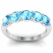 5 Stone Aquamarine Birth Stone Band