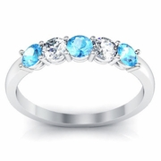 Aquamarine and Diamond Five Stone Band