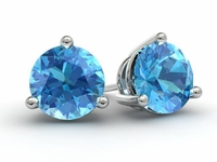 Gold Blue Topaz Earrings