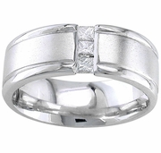 Gold or Platinum Mens Wedding Band with Princess Diamonds