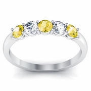 Gold Yellow Sapphire and Diamond Five Stone Band