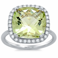 Green Amethyst Halo Fashion Ring