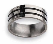 Grooved Black Titanium Ring High Polish Finish in 8mm