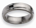 Grooved Edge 6mm Titanium Ring High Polish Finish