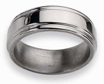 Grooved Edge Titanium Ring High Polish Finish 8mm