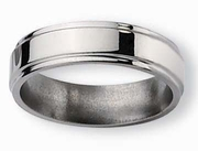 Grooved Edge Titanium Ring High Polish Finish in 6mm