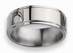 Grooved Edge Titanium Ring High Polish Finish in 8mm