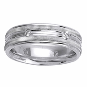 Grooved Mens Diamond Wedding Band in 7mm 0.24cttw