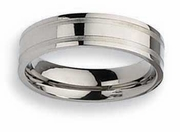 Grooved Mens Titanium Wedding Band 6mm