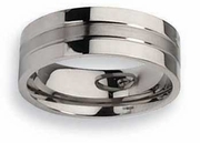 Grooved Mens Titanium Wedding Band 8mm