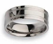 Grooved Mens Titanium Wedding Ring 8mm