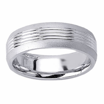 Grooved Mens Wedding Ring - click to enlarge