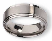 Grooved Titanium Band for Men 8mm