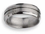 Grooved Titanium Ring 8mm