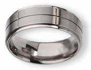 Grooved Titanium Ring for Men 8mm