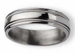 Grooved Titanium Ring High Polish Finish