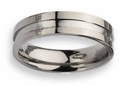 Grooved Titanium Ring High Polish Finish 6mm