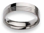 Grooved Titanium Ring High Polish Finish in 6mm