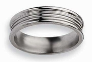 Grooved Titanium Ring Polished Finish 6mm