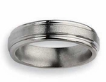 Grooved Titanium Wedding Band 6mm