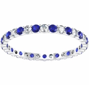 0.70 cttw. Diamond and Blue Sapphire Eternity Ring