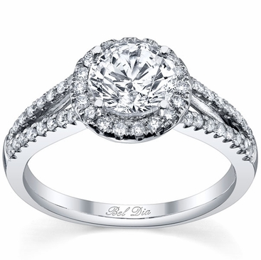 Halo Engagement Ring Setting with Leaf Design and Split Shank - click to enlarge