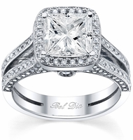 Halo Engagement Ring Setting with Micro Pave Split Shank