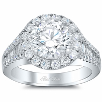 Halo Engagement Ring with Pave and Tapered Baguettes