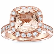 Halo Pave Engagement Ring with Morganite