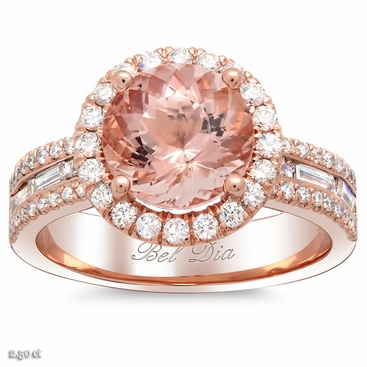 Halo Rose Gold Engagement Ring with Morganite and Baguettes - click to enlarge