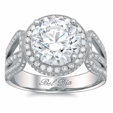Halo Setting for Round Diamond or Moissanite with a Triple Shank Band - click to enlarge
