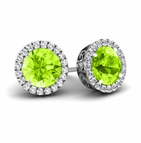 Halo Studs with Peridots
