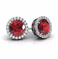 Halo Studs with Rubies