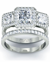 Halo Three Stone Princess Wedding Ring Set - Preset