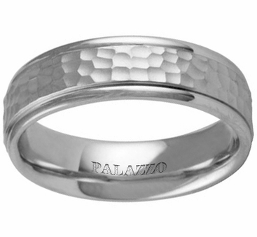 Hammered Men's Palladium Wedding Ring 6.5mm - click to enlarge