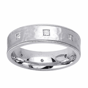Hammered Mens Diamond Wedding Ring in 6mm 0.40cttw
