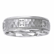 Hammered Mens Diamond Wedding Ring in 7mm 0.30cttw