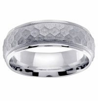 Hammered Mens Ring in Platinum