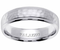 Hammered Palladium Ring for Men Milgrain