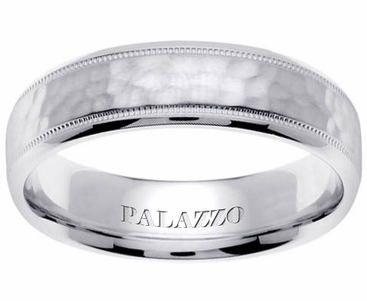 Hammered Palladium Ring for Men Milgrain - click to enlarge