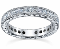 Hand Engraved Channel Princess Eternity Band
